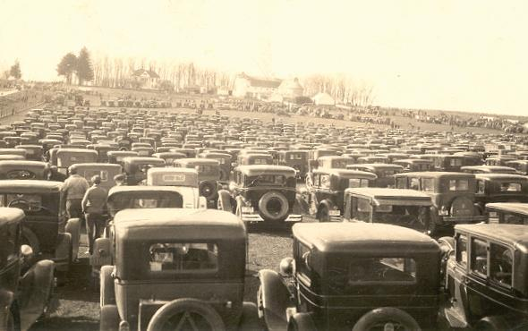 National Corn Husking Contest held in Grundy County in 1931.  Just one of the many parking lots for the event.